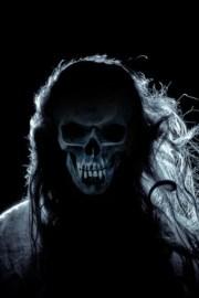 skull with hair tattoo
