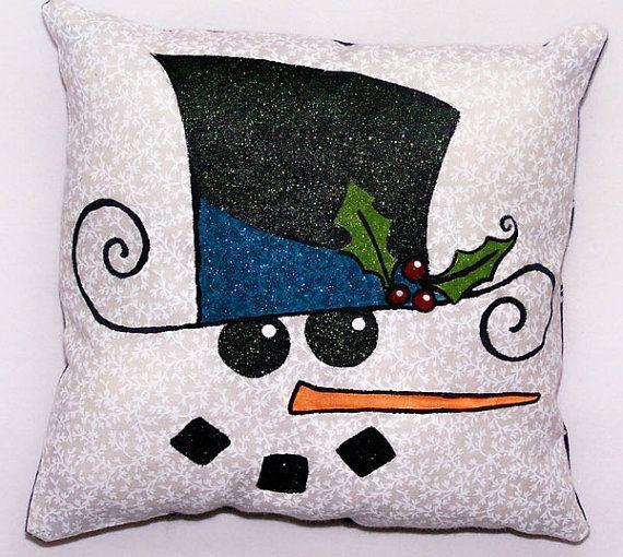 Snowman Pillow Christmas Pillow Hand Painted Pillow
