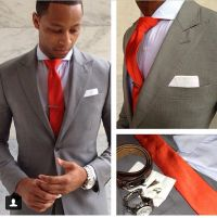 Grey suit and red tie | Look Book | Pinterest