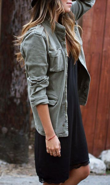 Military Jacket with Black Dress