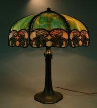 Signed Handel Maple Leaf Slag Glass Overlay Panel Lamp ...