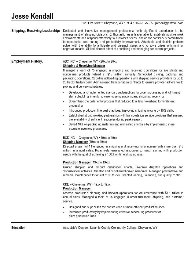 Fulfillment Supervisor Resume Samples - Resume Examples