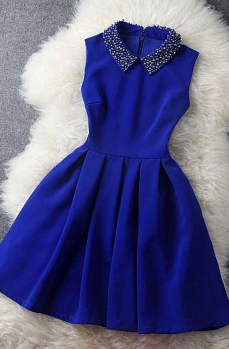 cute decorated collar sapphire blue dress