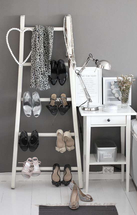 "~ ""Sober"" grey ~ ladder as a practical & pretty solution for favorite shoes display ~ nightstand with ""Cotton & Pebbles"" print from our Domestic Stories Shop. Smiles :*)"