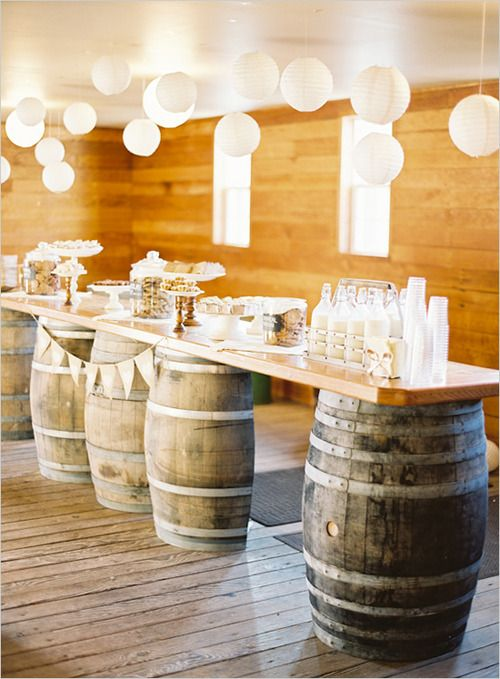 Rustic drink station, perfect for a country wedding.