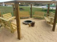 Beach theme swings around a fire pit | Home projects ...