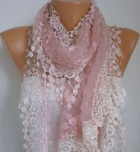 Dusty Pink Lace Scarf - Shawl Scarf Cowl Scarf Lace Edge ...