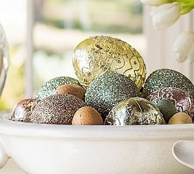 """Add glam to your #Easter table with German glitter eggs."" #easter"