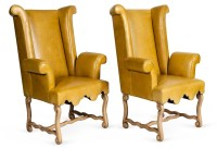 Yellow Wingback Chairs, Pair