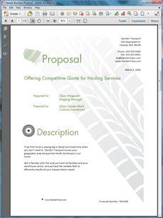 Sample Business Proposal Transportation Services | Work Appreciation