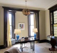 light walls, with dark painted trim