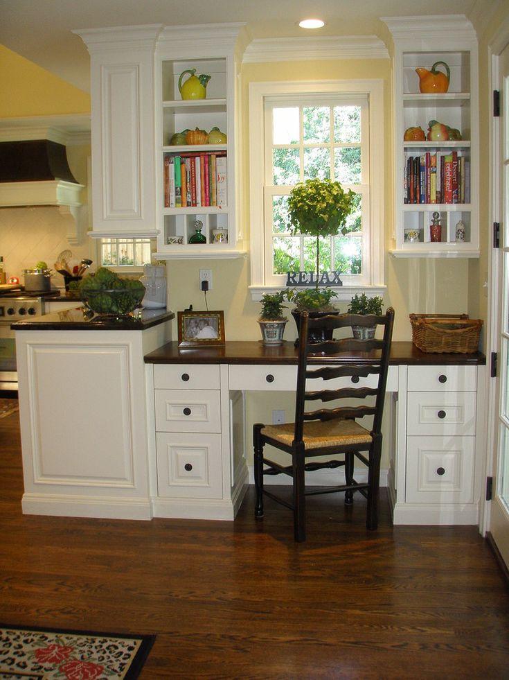 kitchen desk area  Kitchen office  Pinterest