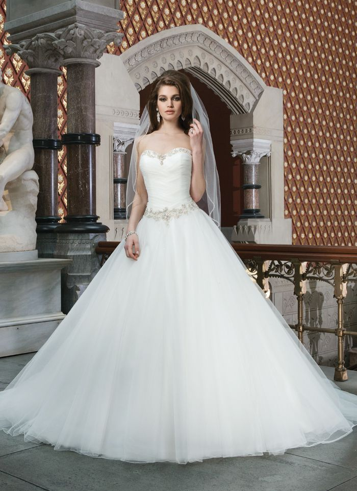 """JUST ARRIVED!!! """"Danielle"""" by Justin Alexander  style 8716 Tulle ball gown features a chevron draped sweetheart bodice accented  with beading at the neckline and the basque waist. Gown has a lace up  back and chapel length train."""
