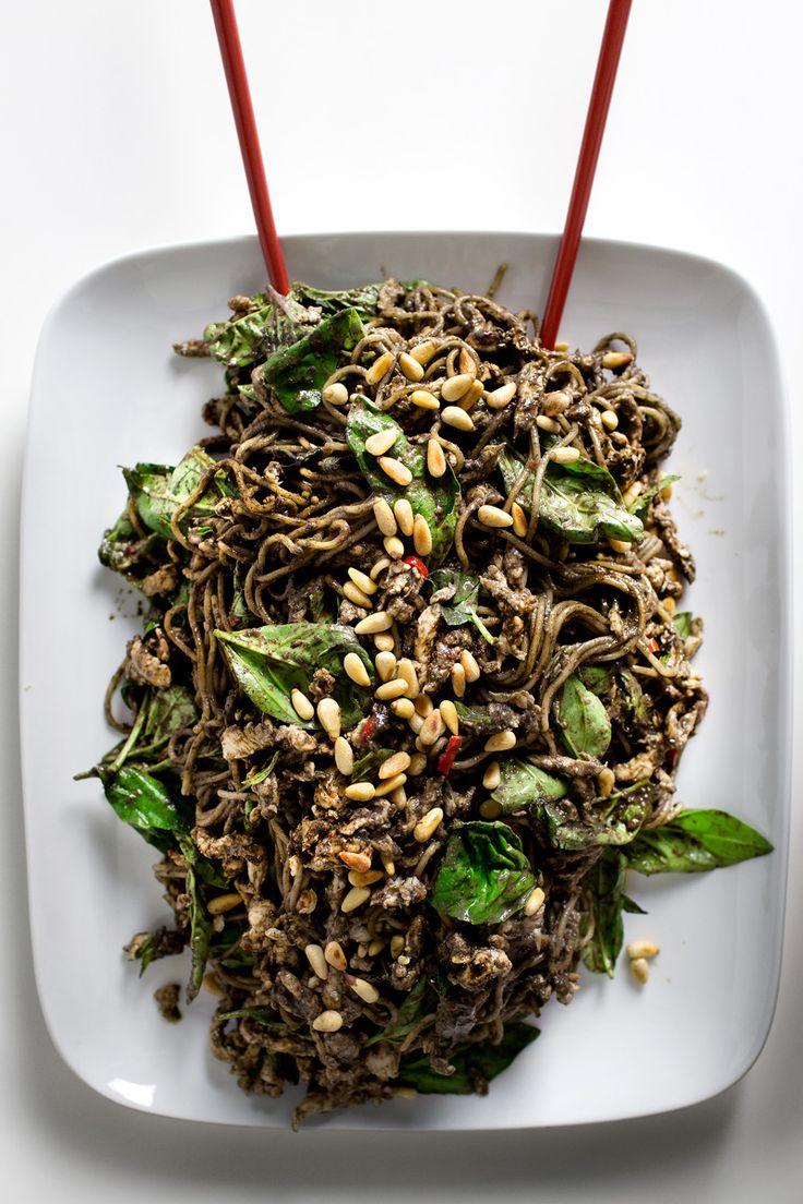 black sesame chicken noodle salad