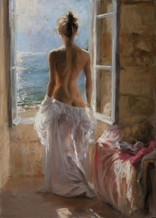 Artist: Vicent Romero; beautiful women paintings; painting; art; beach; beaches; ocean; sea; blonde woman; ladies; lady; romance novel; romantic