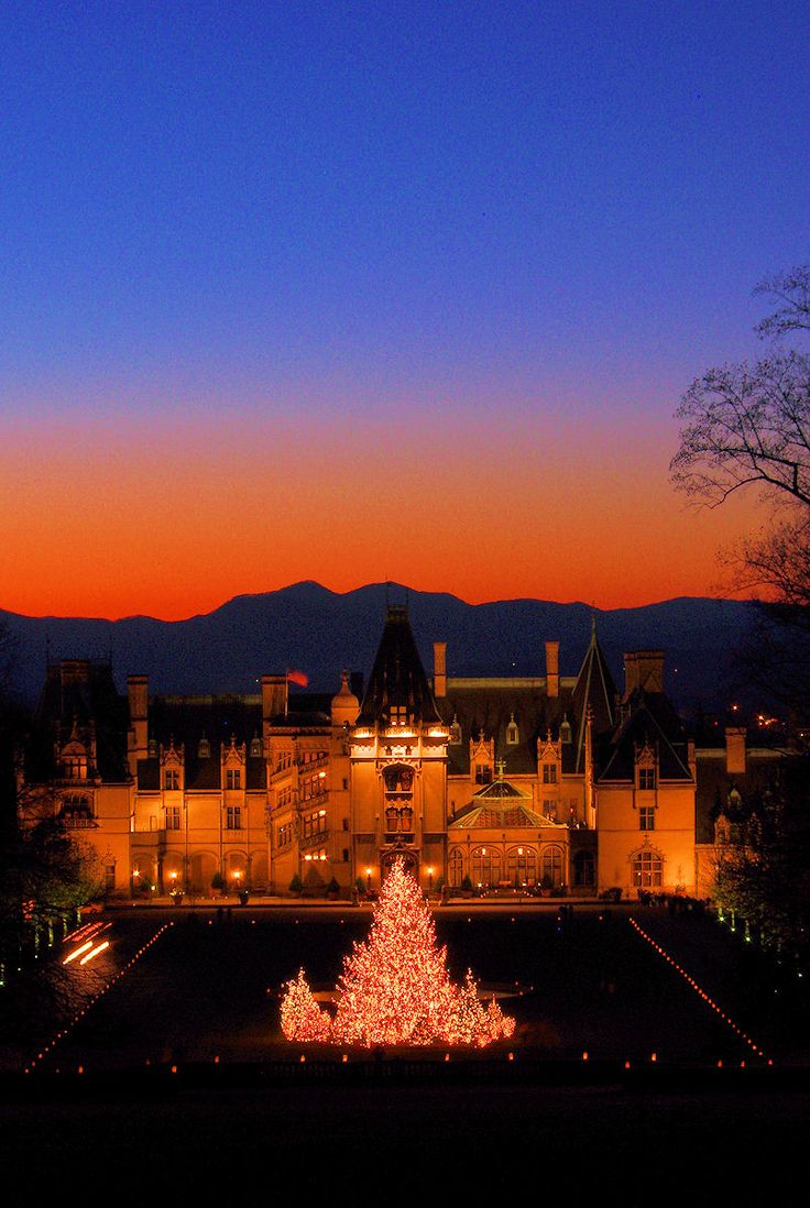 Christmas at Biltmore House with a mountain sunset