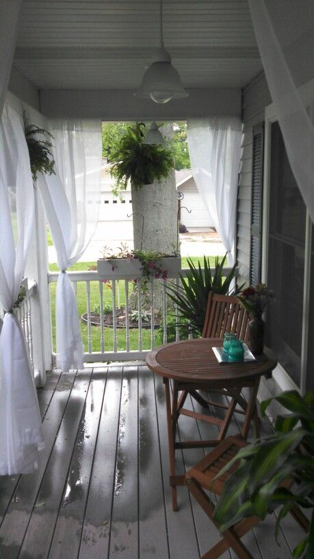 More front porch and new bistro table  Back porch  Pinterest