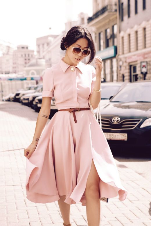 Pantone Color of the Year Rose Quartz Dress Short Sleeve Fit and Flare High Fashion Sunglasses Street Style Stunner