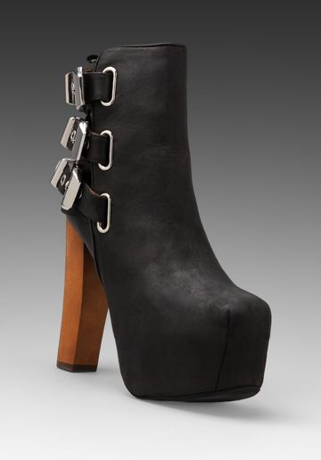 JEFFREY CAMPBELL Conrad Heeled Boot in Black Wash
