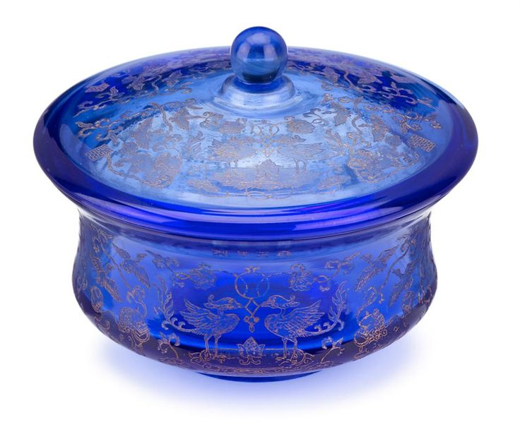 Chinese engraved transparent blue glass covered bowl, Yongzheng mark but later