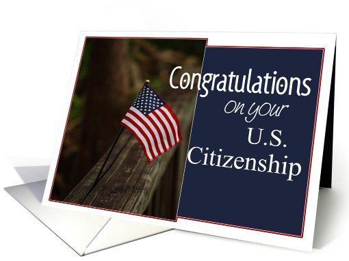 US Citizenship Congratulations Flag card