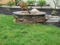 Flagstone fire pit   Outdoor Spaces   Pinterest