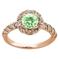 Rose Gold Ring: Green Amethyst Rose Gold Ring