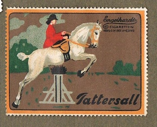 190O`S HORSE SHOW JUMPER TATTERSALL CIGARETTES GERMAN POSTER STAMP  (Just bought this-- have the real tin at home, from my Omi)