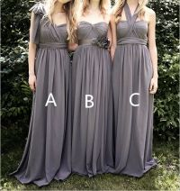 Grey Bridesmaid Dresses Long Chiffon Bridesmaid Dress by