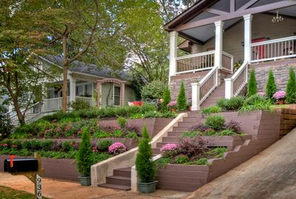 tiered landscaping front yard