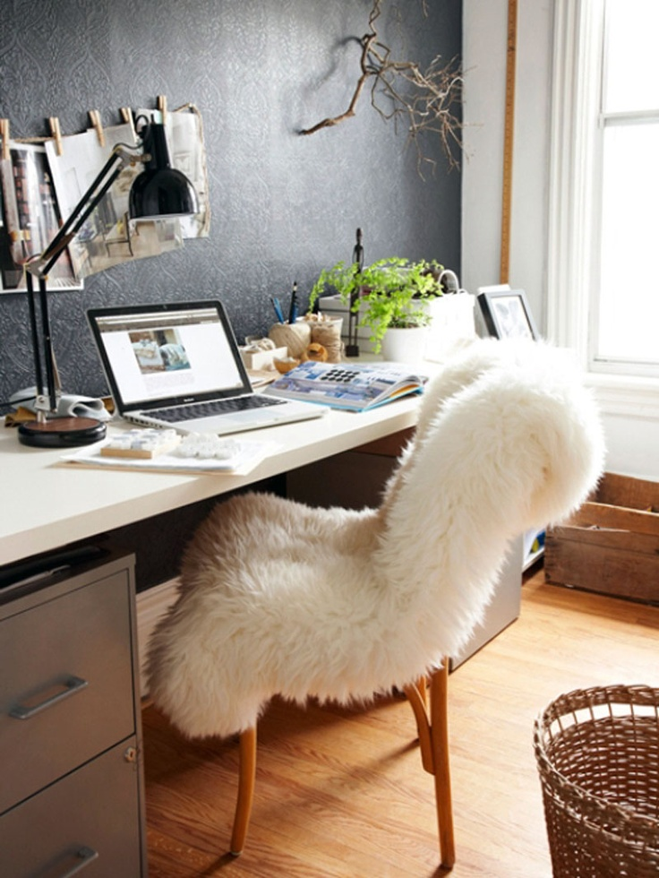 fuzzy desk chair  for candice  Pinterest