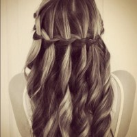 Love the curly hair waterfall braid | Prom/banquet | Pinterest