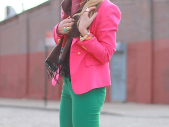 i love color blocking and bright pink blazers
