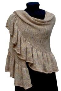 Knitting Pattern, Ruffled Crescent Shawl Knitting Pattern PDF