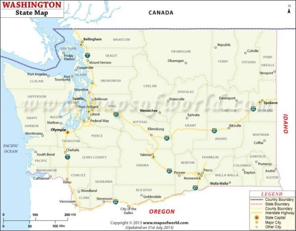 Map of Washington Maps Pinterest