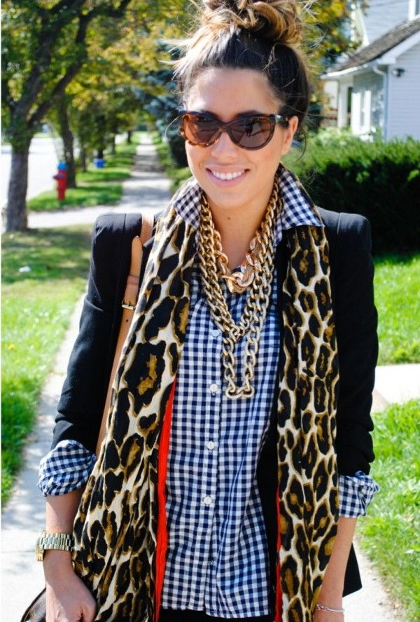 Mixing patterns, mainly gingham with Leopard print from the Style Mogul