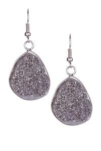Silver Druzy Stone Earrings   Accessories   Pinterest