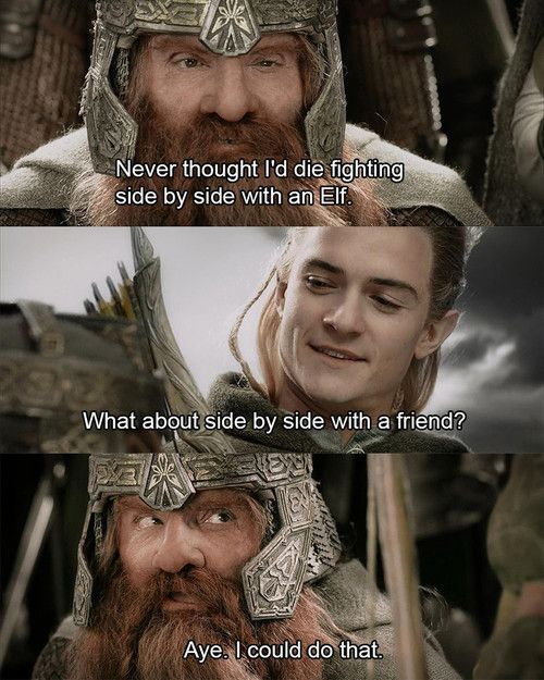 Day 11 Gimli and Legolas just the fact that it's a dwarf and an elf makes if all the more a true friendship...