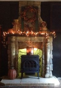 Stone fireplace with wood burning stove. | For the Home ...