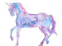 Beautiful Abstract 'Magic Unicorn' Watercolor Print ...