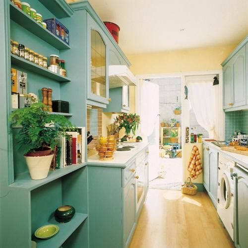 Yellow And Teal Kitchen