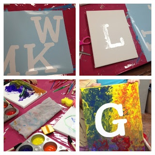 Use precut letters on canvas then kids paint around it and peel off- Paint party
