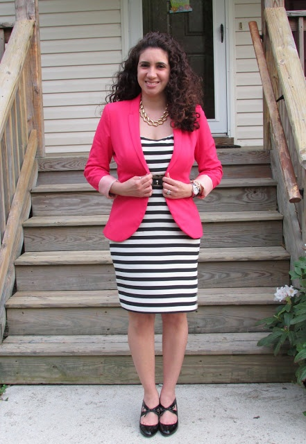 Black & White Stripe Dress & Pink Blazer