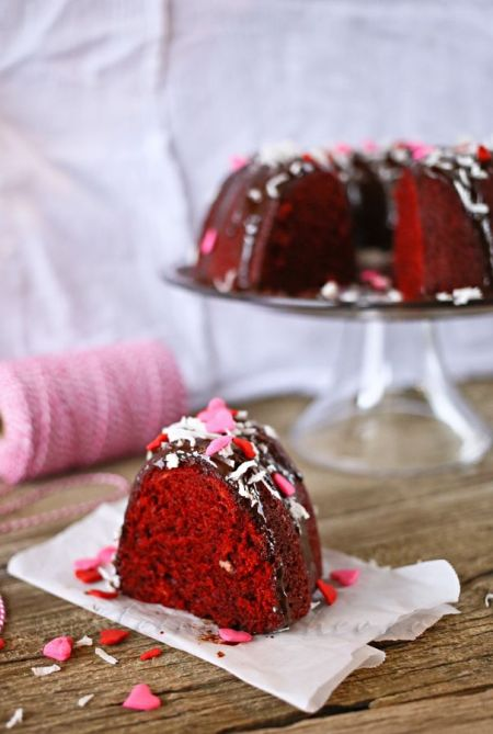 Red Velvet Bundt Cake with Kahlua Ganache | Kleinworth & Co.