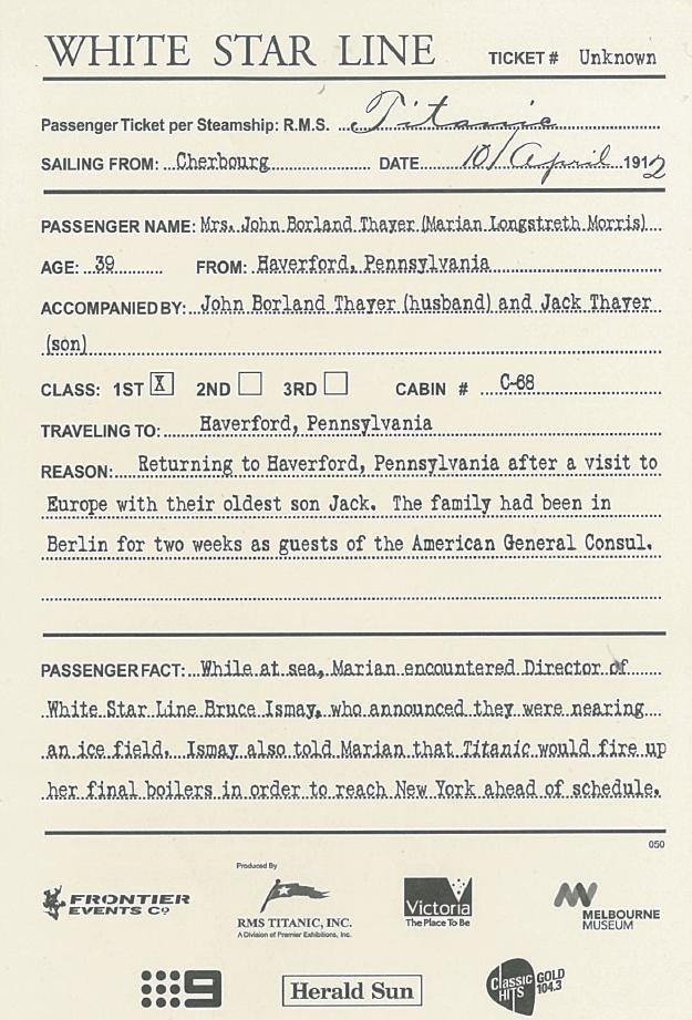 Titanic Boarding Pass Ticket Template