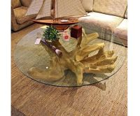 tree stump coffee table with glass top | Outdoors | Pinterest