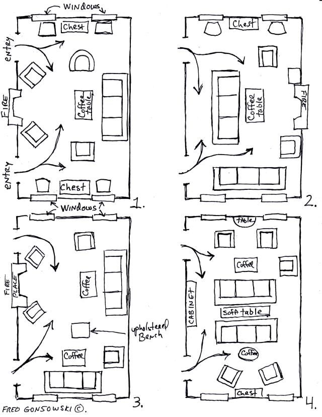 Arranging furniture in a long room 12 different ways...living room