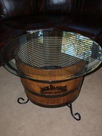bourbon barrel end table   craft ideas I like   Pinterest