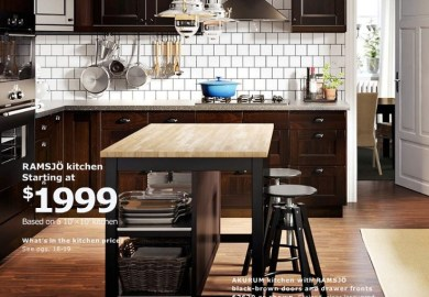 Brown Kitchen Cabinets With Black Island