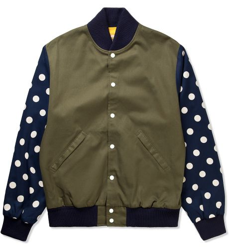 BEE LINE  Olive/Navy Dot Varsity Jacket